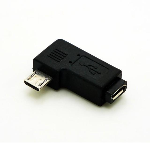 venstre vinklet 90 grader micro usb hann til micro usb kvinnelige extension adapter Conventer ledningen kabelkontakt gratis frakt