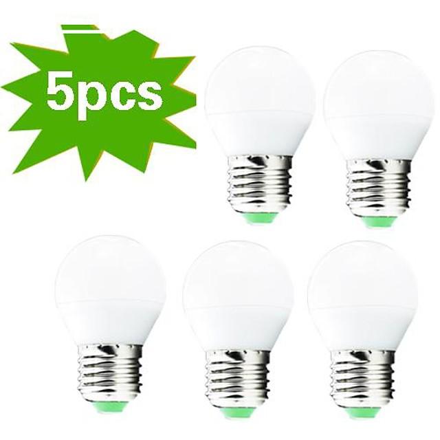 5pcs Bulb LED Glob 400 lm E26 / E27 G45 27 LED-uri de margele SMD 3022 Decorativ Alb Cald 220-240 V / 5 bc / RoHs