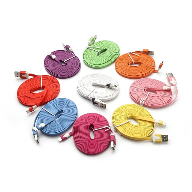 3M Lightning 8-Pin to USB Colorful Noodle Charging Sync Data Flat Cable for iPhone 6 iPhone 6 Plus iPhone 5/5C/5S