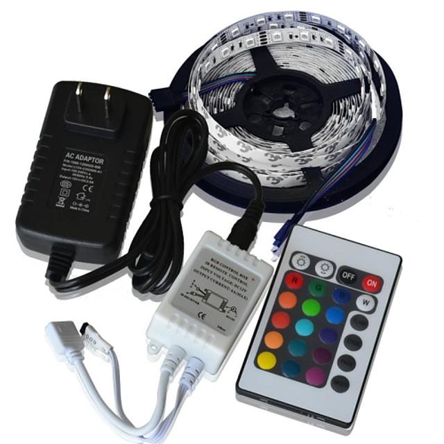 zdm 1pc 5m 36w 60 x 5050 rgb lumina led lumina led lumina controler 24key ir cu adaptor 12v3a us us adaptor lumina seturi