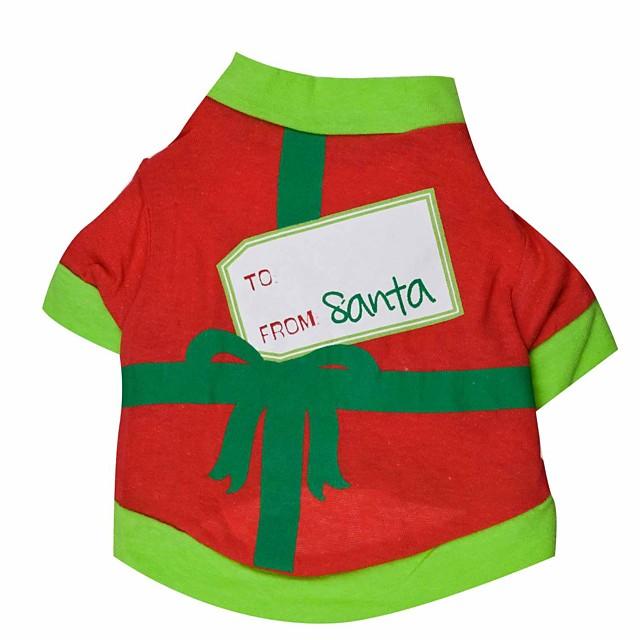 Tricou Crăciun Îmbrăcăminte Câini Haine pentru catelus Ținute pentru câini Respirabil Negru Verde Costum pentru fată și câine băiat Bumbac XS S M L