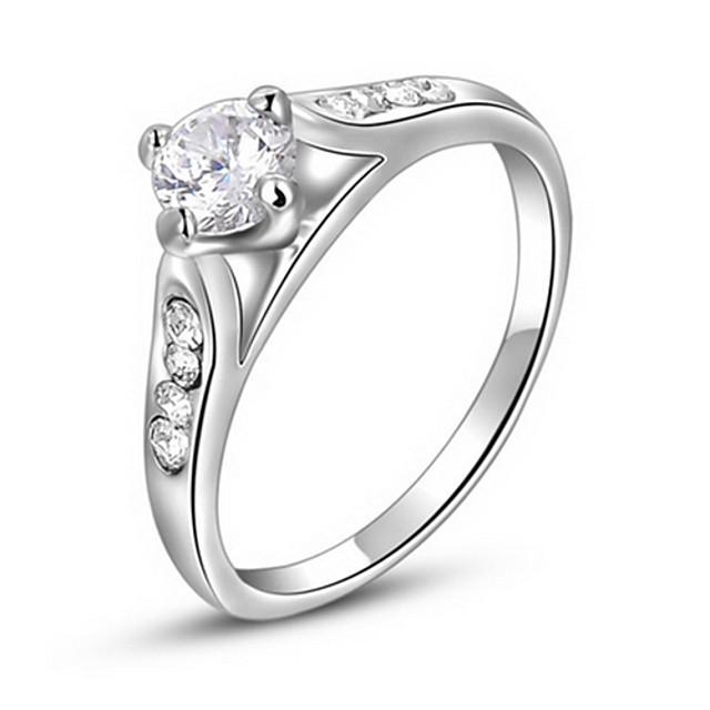 Pentru femei Inel de declarație Cristal Argintiu Zirconiu Diamante Artificiale Cristal Austriac Montaj de Patru Lux European Petrecere Zilnic Bijuterii / Aliaj