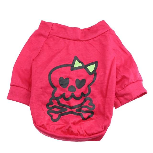 Pisici Câine Tricou Cranii Îmbrăcăminte Câini Respirabil Trandafiriu Costume Bumbac XS S M L