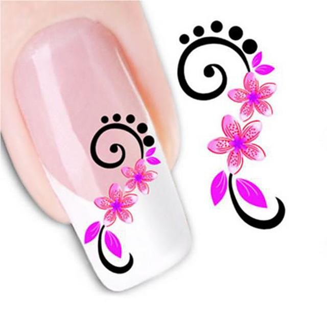 1 pcs 3D Acțibilduri de Unghii Aplicația de transfer de apă nail art pedichiura si manichiura Floare / Modă Zilnic / 3D pentru autocolante