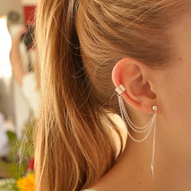 Pentru femei Cercei cu Clip Cătușe pentru urechi Cercei Leaf Shape Ieftin femei Personalizat European Modă Elegant Argilă cercei Bijuterii Auriu / Argintiu Pentru Petrecere Zi de Naștere Zilnic