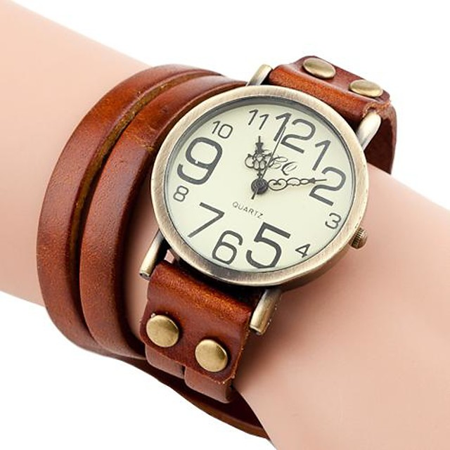 สำหรับผู้หญิง นาฬิกาสร้อยข้อมือ ห่อนาฬิกา นาฬิกาอิเล็กทรอนิกส์ (Quartz) สุภาพสตรี นาฬิกาใส่ลำลอง ระบบอนาล็อก สีน้ำตาลอ่อน น้ำตาลเข้ม ขาว / PU Leather