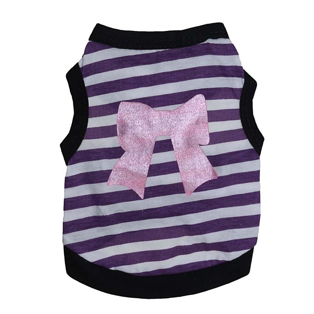 Pisici Câine Tricou Dungi Inimă Îmbrăcăminte Câini Respirabil Mov Roz Costume Bumbac XS S M L