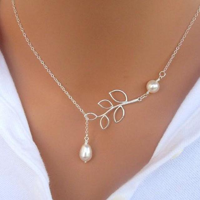 Pentru femei Perle Coliere cu Pandativ Y Colier Arcan Frunze femei De Bază Modă stil minimalist Perle Imitație de Perle Aliaj Argintiu Colier cu lanț de perle 1 Colier cu lanț de perle 3 Colier cu