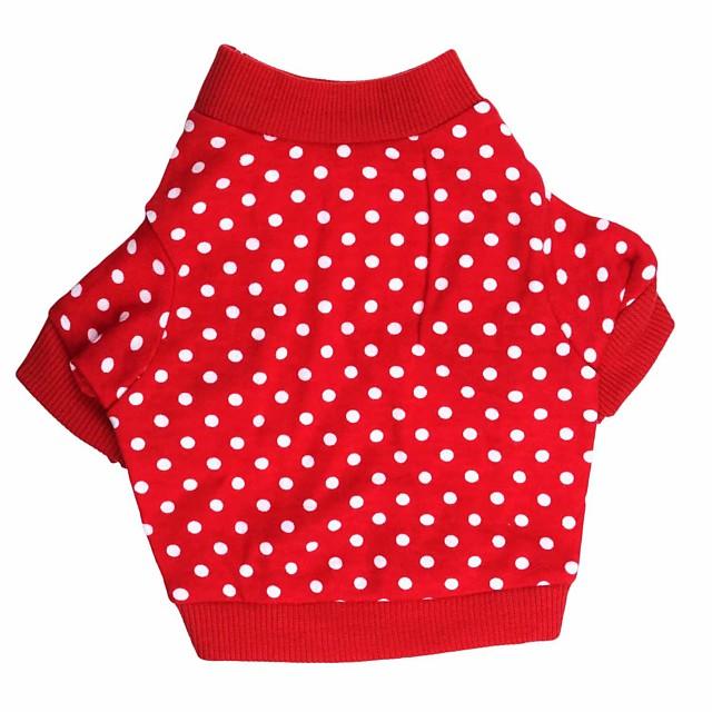 Kat Hund Trøye / T-skjorte Polkadotter Hundeklær Valpeklær Hundeklær Pustende Rød Kostume for Girl and Boy Dog Bomull XS S M L