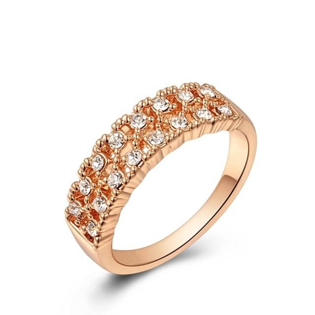 Pentru femei Band Ring Cristal Cristal / Placat Auriu / Aur Alb Modă / Bling bling Nuntă / Petrecere / Zilnic Costum de bijuterii / Zirconiu Cubic