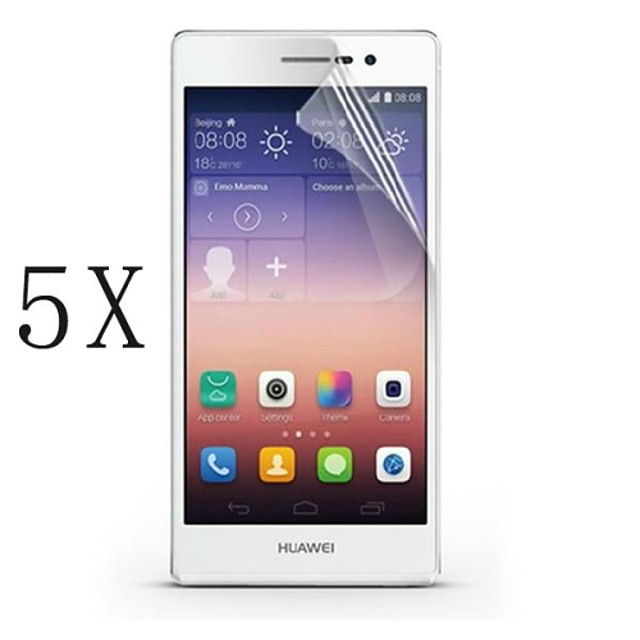 [5-Pack]Professional High Transparency LCD Crystal Clear Screen Protector with Cleaning Cloth for Huawei P6