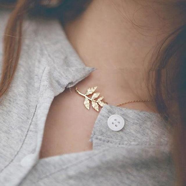 Pentru femei Coliere Choker Leaf Shape stil minimalist Modă Aliaj Auriu Coliere Bijuterii Pentru Zilnic