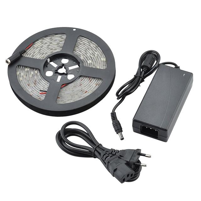 5m rezistent la apa 36W 1800lm 150x5050 SMD rece lumina benzi de lumină LED-uri albe (12V DC)
