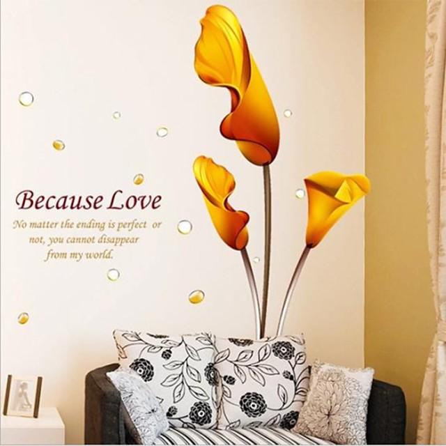 Autocolante de Perete Decorative - Autocolante perete plane Romantic / Botanic Sufragerie / Dormitor / Baie / Re-poziționabil