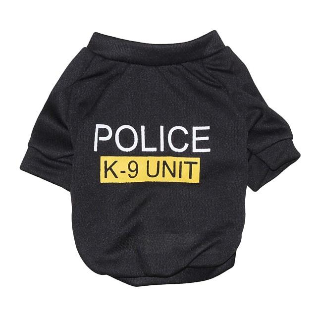 Pisici Câine Tricou Haine pentru catelus Polițist / Militar Literă & Număr Modă Îmbrăcăminte Câini Haine pentru catelus Ținute pentru câini Negru Costume pentru fată și câine băiat Bumbac XS S M L