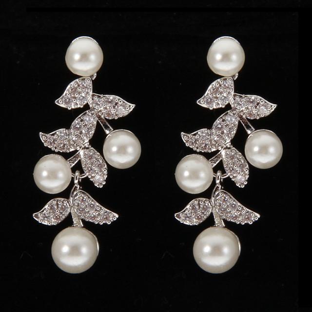 Pentru femei Transparent Perle Cercei Picătură cercei Bijuterii Argintiu Pentru 1 buc