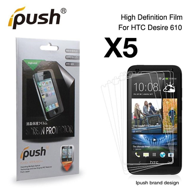 (5 Pieces) High Transparency HD LCD Screen Protector for HTC Desire 610