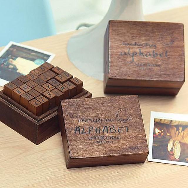 28 pcs De lemn / Lemn Petrecere / Birou / Carieră Cutie de Ștampilă