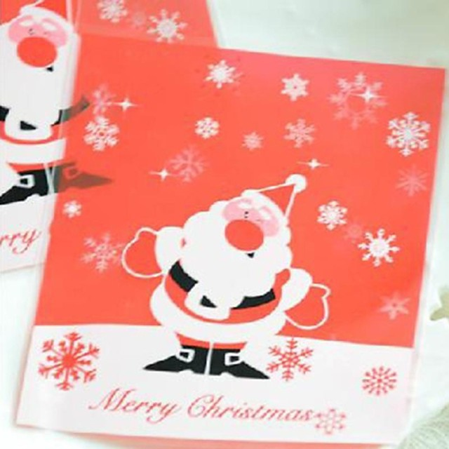 10 Pieces Christmas Transparent Red Father Christmas Gift Bag