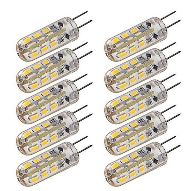 10pcs 1,5w dimensiuni g4 led bi-pin lumini 24 leds 3014 dc 12v alb cald alb rece de iluminat de casa