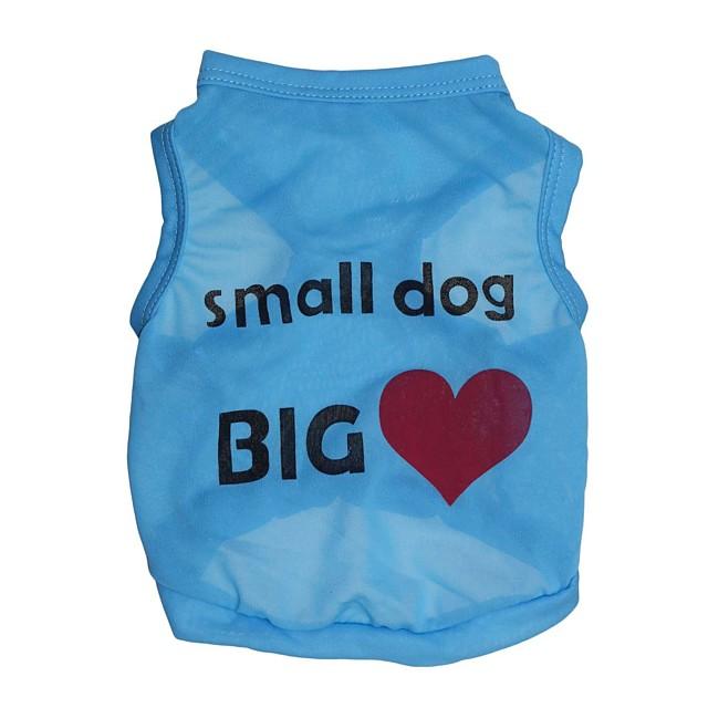 Pisici Câine Tricou Inimă Literă & Număr Îmbrăcăminte Câini Haine pentru catelus Ținute pentru câini Albastru Roz Costume pentru fată și câine băiat Terilenă XS S M L