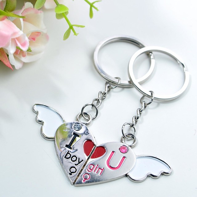 incisione personalizzata amore angelo paio portachiavi in metallo