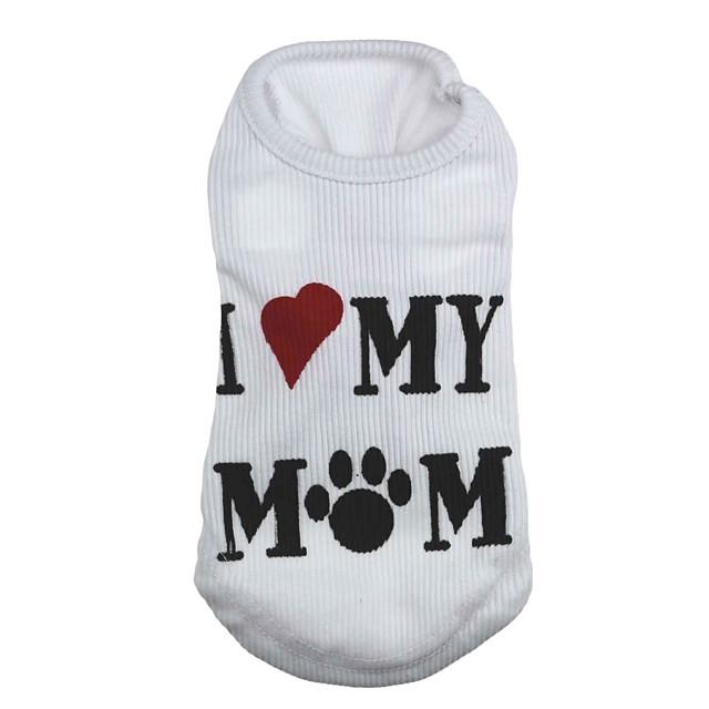 Pisici Câine Tricou Inimă Literă & Număr Îmbrăcăminte Câini Haine pentru catelus Ținute pentru câini Alb Costum pentru fată și câine băiat Terilenă XS S M L