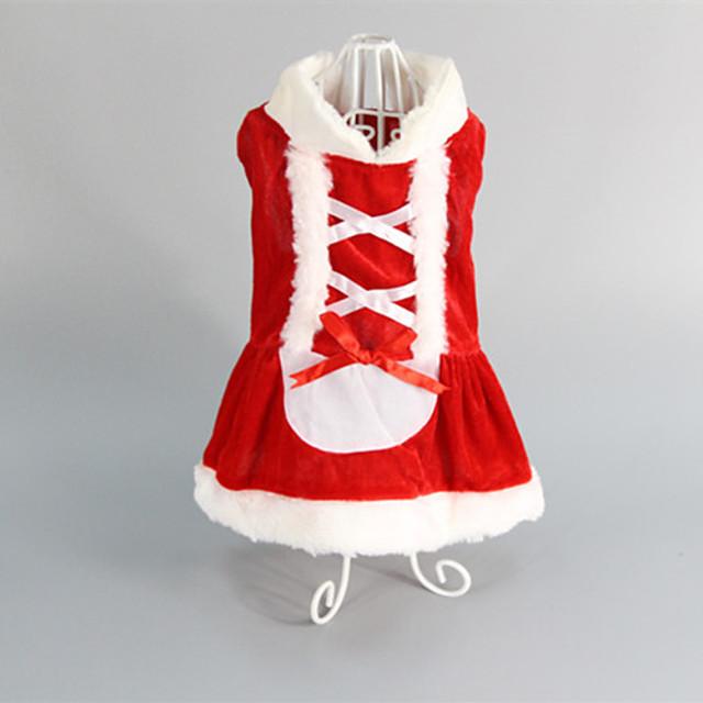 Pisici Câine Rochii Nuntă Crăciun Iarnă Îmbrăcăminte Câini Rosu Costume Bumbac XS S M L