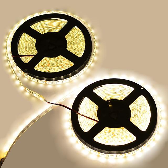 10m Fâșii De Becuri LEd Flexibile 600LED LED-uri 5050 SMD 2pcs Alb Rezistent la apă / Ce poate fi Tăiat / De Legat 12 V / IP65 / Potrivite Pentru Autovehicule / Auto- Adeziv