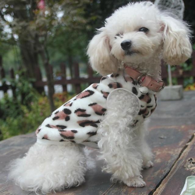 Pisici Câine Pulovere Hanorca Pijamale Leopard Casul / Zilnic În aer liber Iarnă Îmbrăcăminte Câini Haine pentru catelus Ținute pentru câini Negru Costum pentru fată și câine băiat Lână polară XS S M