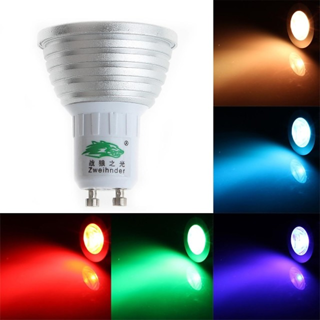 3 W Spoturi LED 200-250 lm GU10 MR16 1 LED-uri de margele Dip LED Intensitate Luminoasă Reglabilă Telecomandă Decorativ RGB 85-265 V / FCC