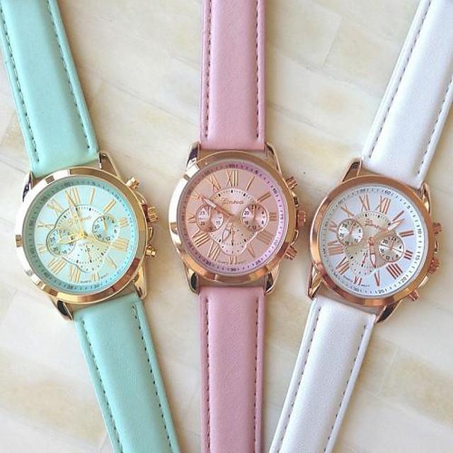 Pentru femei Ceas de Mână Quartz Piele PU Matlasată Alb / Albastru / Pink Ceas Casual Analog femei Modă Elegant - Alb Albastru Roz