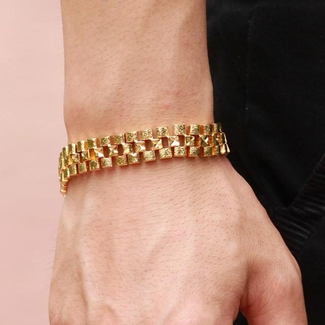 Bărbați Bratari de tenis femei Design Unic Modă Dubai 18K Placat cu Aur Bijuterii brățară Auriu Pentru Cadouri de Crăciun Nuntă Petrecere Zilnic Casual / Placat Auriu