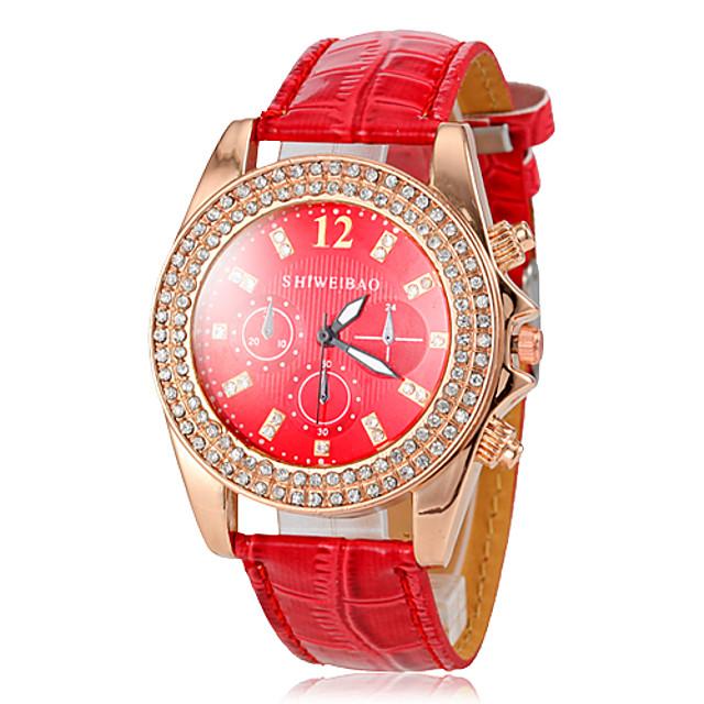 Pentru femei Ceas de Mână Diamond Watch Quartz Piele Roșu imitație de diamant Analog femei Casual Sclipici Ceas de diamant simulat - Rosu / Oțel inoxidabil