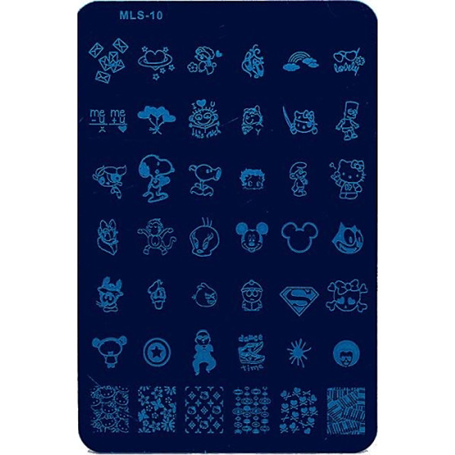 1 pcs Ștampila de ștanțare Format Încântător nail art pedichiura si manichiura Fructe / Floare / Abstract Zilnic / Desen animat / ștampilare Placă / MetalPistol
