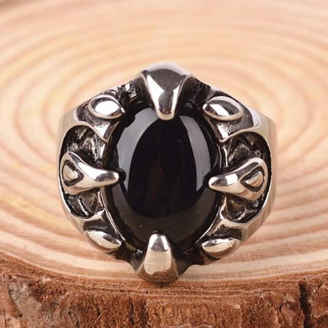 Bărbați Inel de declarație Inel Sapphire sintetic Piatră Preţioasă Negru natural Pietre sintetice Oțel titan Aliaj Declarație Personalizat Vintage Bijuterii