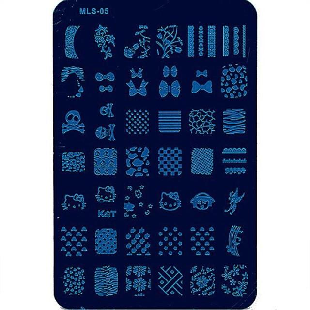 1 pcs Ștampila de ștanțare Format Încântător nail art pedichiura si manichiura Fructe / Floare / Abstract / Desen animat / ștampilare Placă / MetalPistol