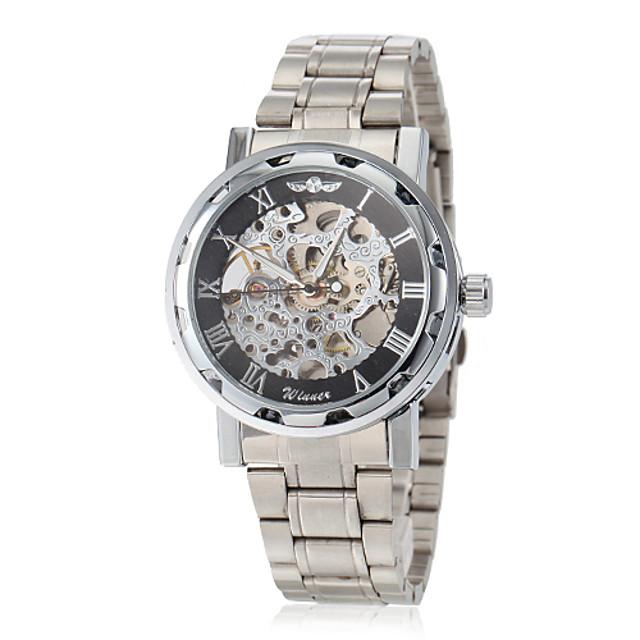 WINNER Bărbați Ceas Schelet Ceas de Mână ceas mecanic Mecanism manual Oțel inoxidabil Argint Gravură scobită Analog Fluture - Roz auriu Auriu Argintiu