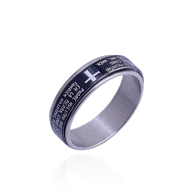Bărbați Band Ring Teak Σταυρός Design Unic Modă Bijuterii inițială Hristos Inele la Modă Bijuterii Negru Pentru Zilnic 8 / 9 / 8½