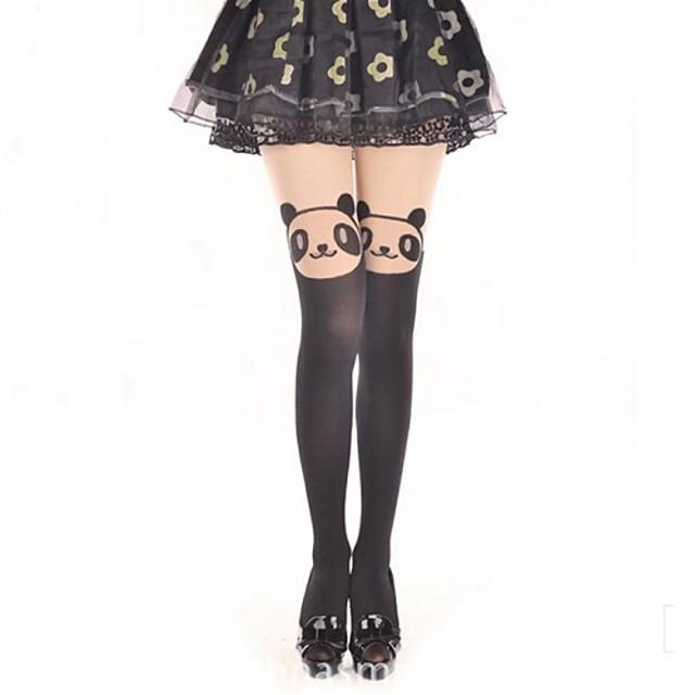 Prințesă Pentru femei Sweet Lolita Classic Lolita See Through Șosete / ciorapi Ciorapi strâmți, lungi Imprimeu Urs Catifea Lolita Accesorii / Clasic / Traditional Lolita