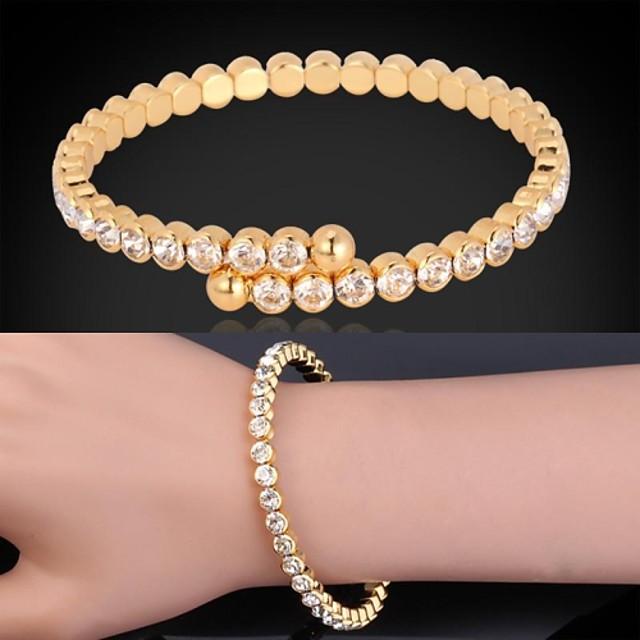 Pentru femei Diamant sintetic Brățări cu Talismane Brățări Bantă Bratari de tenis femei Lux Placat cu platină Bijuterii brățară Auriu / Argintiu Pentru Cadouri de Crăciun Nuntă Petrecere Zilnic