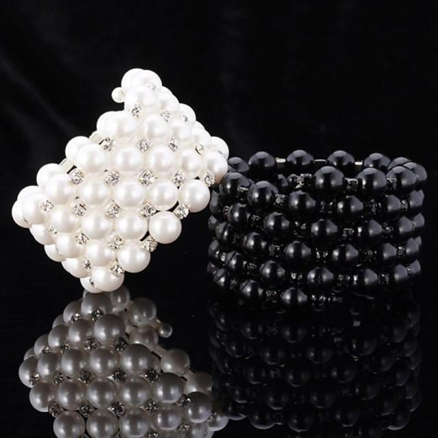 Pentru femei Perle Brățări cu Lanț & Legături Brățări cu Talismane Brățări Bangle Χάντρες femei Perle Bijuterii brățară Alb / Negru Pentru Nuntă Petrecere Zilnic Casual Sport Mascaradă / Bratari Wrap