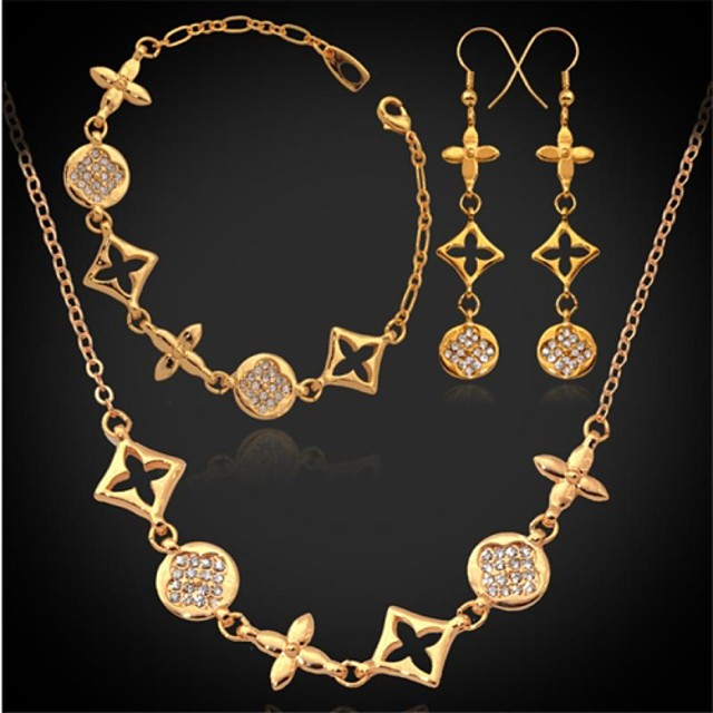 Pentru femei Seturi de bijuterii femei Ștras Placat cu platină Placat Auriu cercei Bijuterii Auriu / Argintiu Pentru Nuntă Petrecere Zilnic Casual Sport / Cercei / Coliere / Brățară