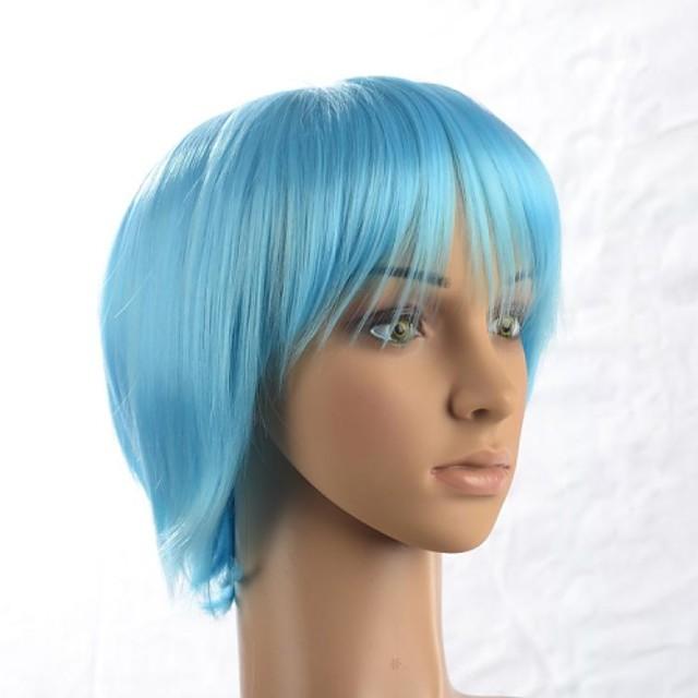 Peruci Sintetice Drept Drept Perucă Albastru celest Păr Sintetic 12 inch Albastru