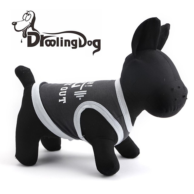 แมว สุนัข T-Shirt Dog Clothes สีดำ เครื่องแต่งกาย ฝ้าย XS S M L