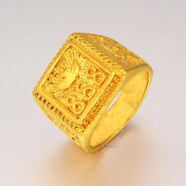 Bărbați Inel de declarație Inel sigiliu Placat Auriu 24K Gold Plated Modă Cadouri de Crăciun Nuntă Bijuterii