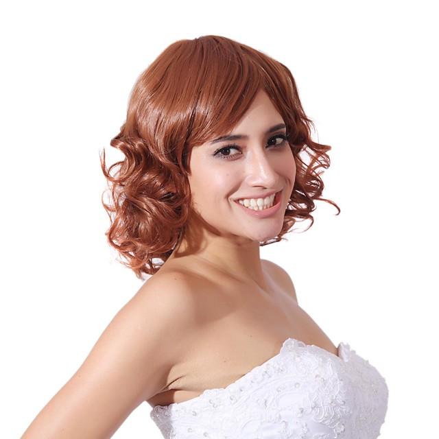 fără capac mix de culoare lungime medie peruca de înaltă calitate naturală sintetic parul cret cu bang lateral