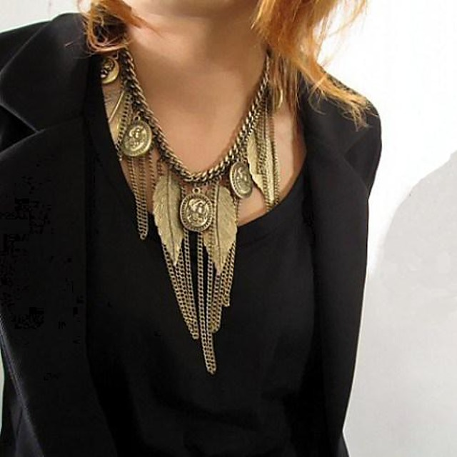 Women's Statement Necklace Ladies Vintage African Screen Color Necklace Jewelry For