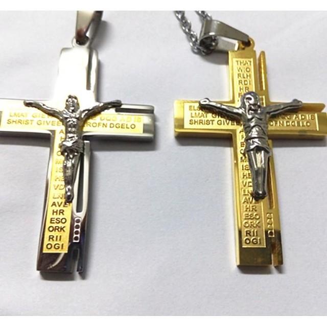Bărbați Coliere cu Pandativ Σταυρός Hristos Oțel titan Placat Auriu Argintiu Auriu Coliere Bijuterii Pentru Nuntă Petrecere Zilnic Casual