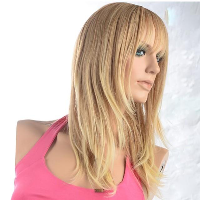Peruci Sintetice Drept Drept Perucă Blond Maro Auriu cu Blond Păr Sintetic Pentru femei Blond